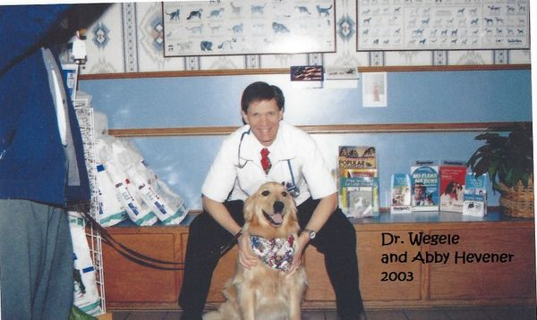 Dr. Wegele and his dog Abby in 2003