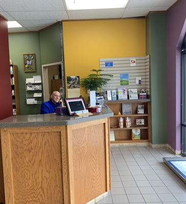 The front desk and reception area