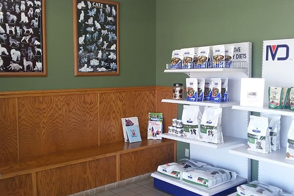 The waiting area and product display